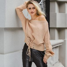 Casual Lace Up Knitted Sweater. In Beige 6d4e2fc20