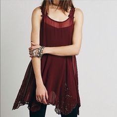 FP Beaded sheer slip Beautiful Cranberry color new embellished slip/ tank dress- flowy and perfect for layering or worn with a slip Free People Dresses
