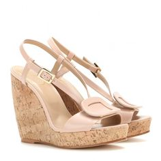 Roger Vivier Leather Wedge Sandals ($670) ❤ liked on Polyvore featuring shoes, sandals, beige, wedge heel sandals, leather footwear, beige leather sandals, wedge sandals and beige sandals