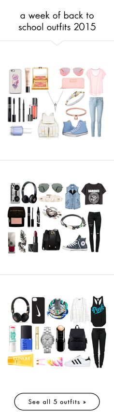 """""""a week of back to school outfits 2015"""" by vivian1995 ❤ liked on Polyvore featuring Converse, Frame Denim, Oliver Peoples, Marc by Marc Jacobs, MICHAEL Michael Kors, Michael Kors, Guerlain, Tory Burch, Christian Dior and Burberry"""