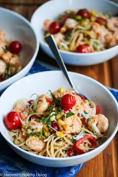 Lemon Pasta with Shrimp, Peppers, Tomatoes, Corn and Basil ~ http://jeanetteshealthyliving.com