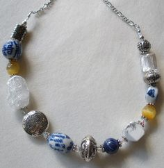 Porcelain Potpourri Blue White Yellow Necklace by bluewhitewear,