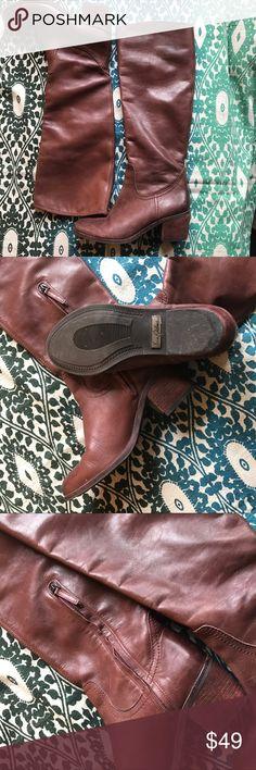 Sam Edelman Loren Calf Boots Brown Leather, side zip. Size 6.5 Sam Edelman Shoes Heeled Boots