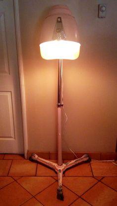 repurposed industrial style mid century hair dryer lamp