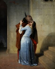 """""""Il Bacio"""" The Kiss c.1859. Francesco Hayez b.1791 d.1882. Oil on canvas. Italian painter, leading artist of Romanticism in Italy. Known famously for this painting portraying two lowers in a Medieval setting. Il Bacio becomes the iconic kiss symbolic of a new Italy. Pinacoteca di Brera, Milan, Italy."""