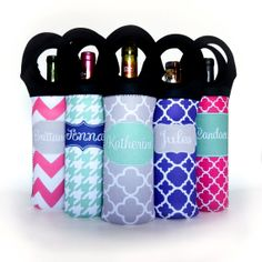 Wine Carrier Insulated - Personalized with Name or Monogram Initials