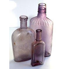 Purple/Amethyst Vintage Bottles, 3 #huntersalley