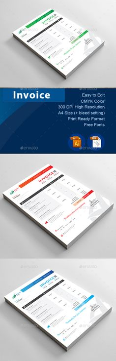 #INVOICE - #Proposals & Invoices #Stationery Download here: https://graphicriver.net/item/invoice/19172376?ref=alena994