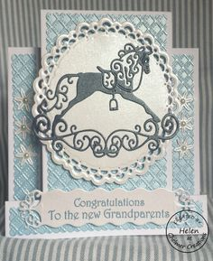 New stepper card die. Tattered lace horse and flowers. Centura Pearl white and blue card, embossed with Sizzix embossing folder. Spellbinders circle die and Sizzix label for the sentiments. A real hybrid card! Baby Boy Cards, New Baby Cards, Baby Shower Items, Baby Shower Cards, Center Step Cards, Stepper Cards, Horse Cards, Tattered Lace Cards, Spellbinders Cards