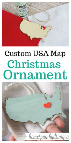Make Your Own Customized Map Ornament in just minutes! #Christmas #Ornaments #DIY