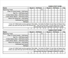 Beautiful Hand And Foot Score Sheet Template Ideas