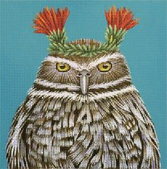 Melissa Shirley Designs | Hand Painted Needlepoint | Paco the Burrowing Owl