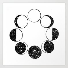 Buy Moon Phases Art Print by dopenuji Worldwide shipping available at Just one of millions of high quality products available Moon Phases Drawing, Moon Phases Art, Moon Drawing, Moon Art, Painting & Drawing, Moon Sketches, Motivation Poster, Film Disney, Moon Magic