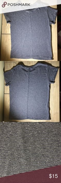 Brandy Melville Striped Shirt Blue and grey. One size in good used condition with normal wear and tear Brandy Melville Tops Crop Tops