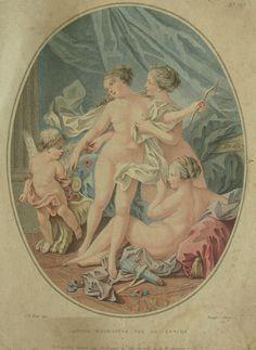 Galerie Nord - 500€ - L'Amour enchaîné par les Grâces, par Louis-Marin Bonnet d'après un dessin de Jean-Baptiste Huet, vers 1780. Gravure en tirage d'époque sur vergé. Superbe épreuve, coloris très frais et bellement nuancés. Dimensions à la cuvette : 26,4 x 21,1 cm.