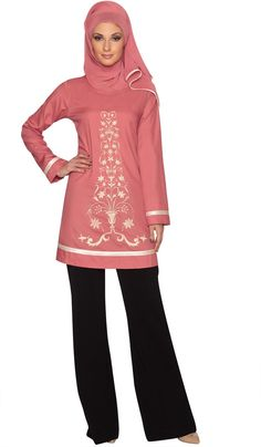 Isabel Pink Floral Embroidered Long Tunic | Islamic Clothing for Women | Islamic Clothing at Artizara.com  $44