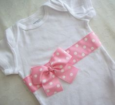 Polka Dot Ribbon Onesie by JensCraftCorner on Etsy, $13.00