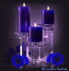 pretty purple and blue candles set on glass Blue Candles, Candle Lanterns, Pillar Candles, Candle Lighting, Christmas Fireplace, Christmas Candles, Royal Blue Centerpieces, Elegant Centerpieces, Candles In Fireplace