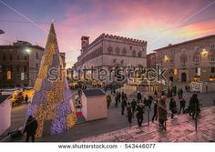The historic center of Perugia at christmas time in winter with xmas tree.  #Perugia #Christmas #Umbria #Xmas #ChristmasTree #City #Travel #Festive #Holidays #ChristmasMarket #Sunset #Romantic #Alley #Medieval #Buildings #Landmark