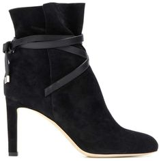 Jimmy Choo Dalal 85 Suede Ankle Boots (£725) ❤ liked on Polyvore featuring shoes, boots, ankle booties, black bootie, short black boots, suede boots, suede ankle boots and black booties