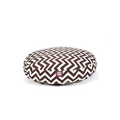 Medium Brown Chevron Stripes Pattern Dog Bed Elegant Zig Zag StripeInspired Pet Bedding Round Shape Features Water Stain Resists Removable Cover Soft Comfy Design Plush Polyester