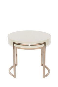 PANGEA/home  Mino Round Side Table - White