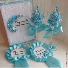 """Купить Свадебный набор"""" Изысканность""""Голубой - голубой, набор для творчества, свадебные аксессуары, свадебное украшение, свадьба"""