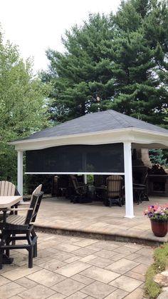Backyard Pavilion, Backyard Gazebo, Backyard Patio Designs, Backyard Landscaping, Outdoor Gazebos, Outdoor Structures, Outdoor Living Rooms, Living Spaces, Solar Shades