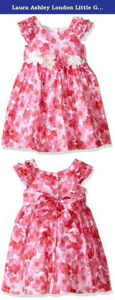 Laura Ashley London Little Girls' Hot Pink Floral Dress, Multi, 4. This bright summer dress has gathered sleeves and a full floaty skirt.