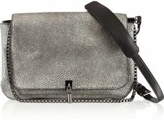 Elizabeth and James Cynnie Medium Metallic Lizard-Effect Leather Shoulder Bag