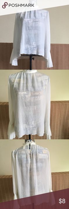 2d05da4ff7ab H&M Ivory Top H & M Ivory top features a high neck and long bell sleeves