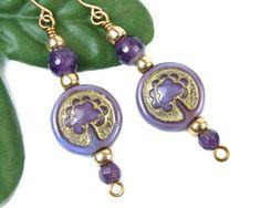 Earthy Purple Tree of Life Handmade Earrings, Czech Glass and #Amethyst…