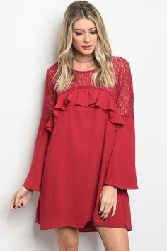 5a4e2e63cf Red Ruffle Lace Dress! Available on our website! theboutiquestore.com Lace  Burgundy Dress