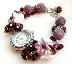 Lampwork watch 'Garnet bracelet' with handmade lampwork beads made by Inna Kirkevich