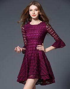 #AdoreWe #VIPme A-Line Dresses - FWAYSBY Wine Trumpet Sleeve Lace High Waist A-line Dress - AdoreWe.com