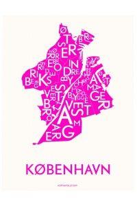 Kortkartellet plakat København neon pink 50x70 cm.