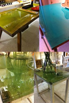 vintage tables with dyed epoxy new top