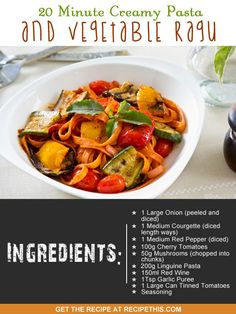 One Pot Cooking | 20 Minute Creamy Pasta & Vegetable Ragu