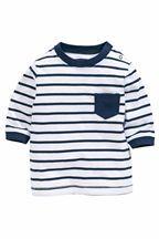 White Navy Stripe Tee (0-18mths) Next
