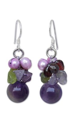 Garnet and Amethyst Cluster Earrings, 'Bright Bouquet'