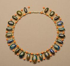 Necklace Marie Zimmermann (American, Brooklyn, New York 1879–1972 Punta Gorda, Florida). Gold, shattuckite, and coral. American, circa 1920-1928