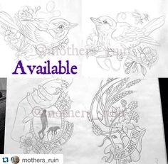 Available designs by Lauren Stephens! Birdies with dragonfly/bee. Dog themed 'best buds' and sickle 'reap what you sow' pieces all available at around a5 size. Email lauren.tattoos.uk@gmail.com or skinsandneedles@live.co.uk to book. #artistdaily #pleasedontsteal #artoftheday #art #tattoo #ink #teesside #teessidetattoo #flowertattoo #birdtattoo #mothersruin #skinsandneedles #cockasnook #awesome #inkedup #skinsandneedlestattoo #middlesbrough http://goo.gl/OFa3Tr