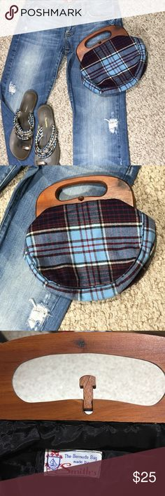 "Bermuda bag made by Smith This is such a great bag for  jeans ..casual wear... The wool plaid has a style all of a sudden with the wooden handle and closure...width 9""length 6 1/2"" The Bermuda bag Bags Mini Bags"