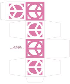 Printable peace symbol boxes in 5 colors- 2x2x2 inch cubes