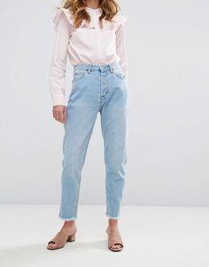 Pull&Bear Raw Hem Mom Jeans