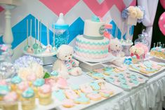 Pink and Blue Chevron-Themed Gender Reveal Party