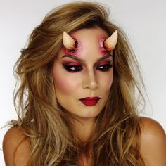 Today I created this 'She-Devil' makeup for Halloween. Devil Halloween, Halloween Inspo, Creepy Halloween, Halloween Party, Demon Costume, Costume Makeup, Prosthetic Makeup, Halloween Eye Makeup, Scarecrow Makeup