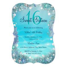 Teal Blue Water Ocean Pearls Sweet 16 Party Card