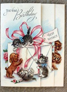 Puppy Dog Kitten Cat Birthday Greeting Card by PhotoTreasureChest, $4.00