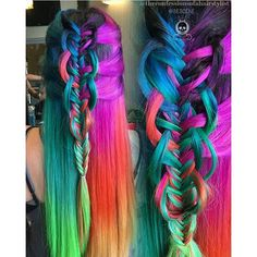 Neon to Pastel hair color and fabulous braids by Rickey Zito, Linh Phan and Jenny Strebe. Neon hair color. Festival hair. Psychedelic hair color Rainbow hair color hotonbeauty.com